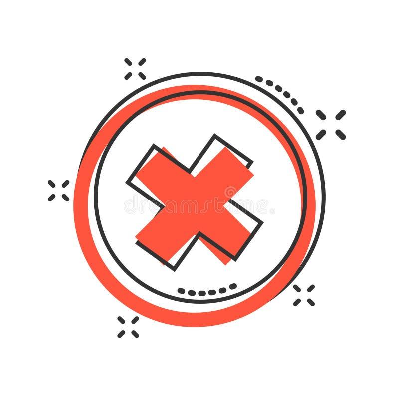 Vektorkarikaturh?kchen kreuzen, keine Ikone in der komischen Art Falsches Zeichenillustrationspiktogramm Kein Gesch?ftsspritzen-E vektor abbildung