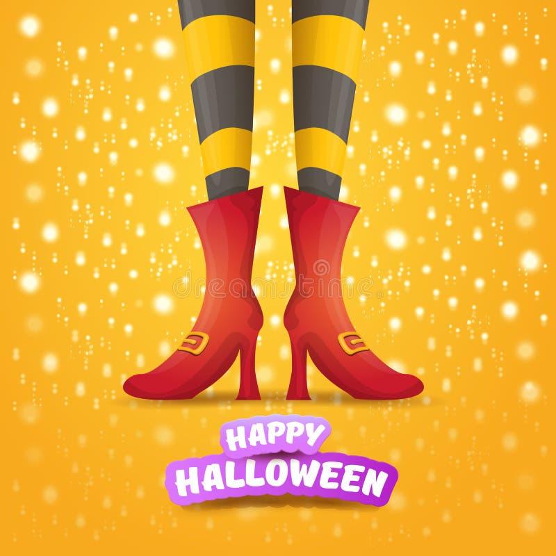 Vektorkarikaturhalloween-Parteiplakat mit den Frauenhexenbeinen und Weinleseband mit Text glückliches Halloween auf Orange lizenzfreie abbildung