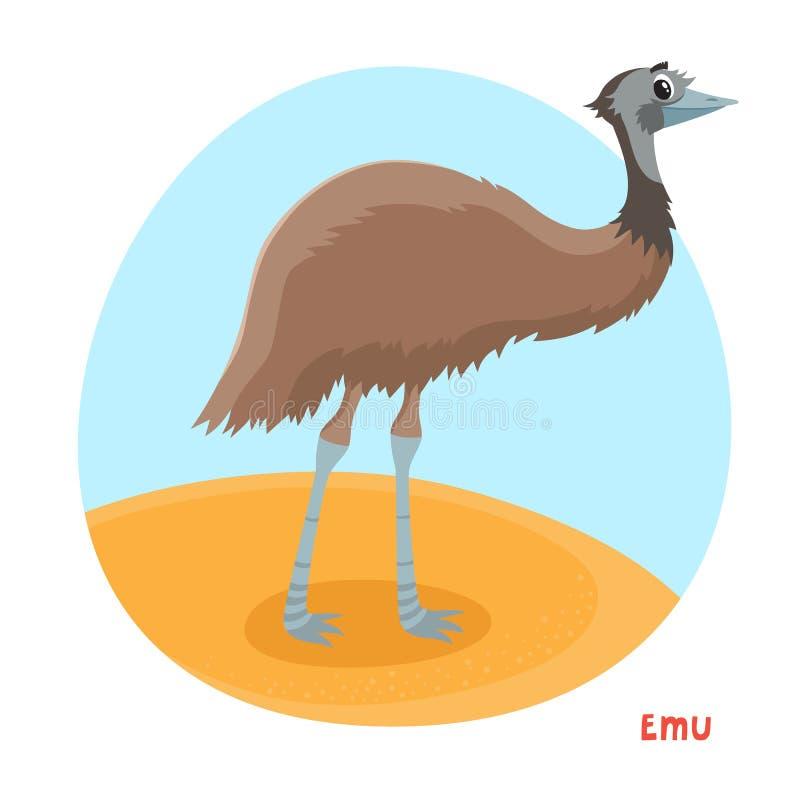 Vektorkarikaturillustration des Emus lokalisiert auf weißem Hintergrund stock abbildung