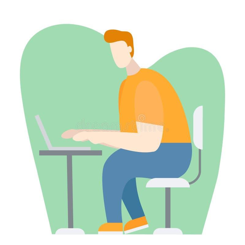 Vektorkarikaturillustration des intelligenten Kerls, der Laptop verwendet, um zu lernen, Spiele, bloggend Internet, Sicherheitsko vektor abbildung