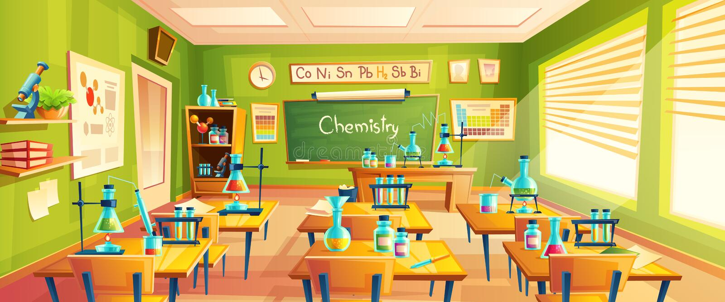Vektorkarikaturillustration des Schulklassenzimmers vektor abbildung