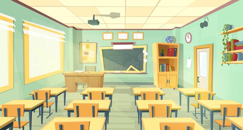 Vektorkarikaturillustration des Schulklassenzimmers lizenzfreie abbildung