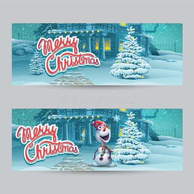 Vektorkarikaturillustration heiraten Weihnachtsfahnen Helles Bild, zum von ursprünglichen Video- oder Netzspielen, Grafikdesign,  stock abbildung