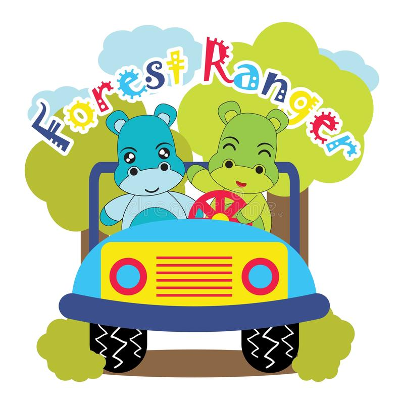 Vektorkarikaturillustration mit netten Babyflusspferden fährt Dschungelauto auf gestreiftem Hintergrund stock abbildung