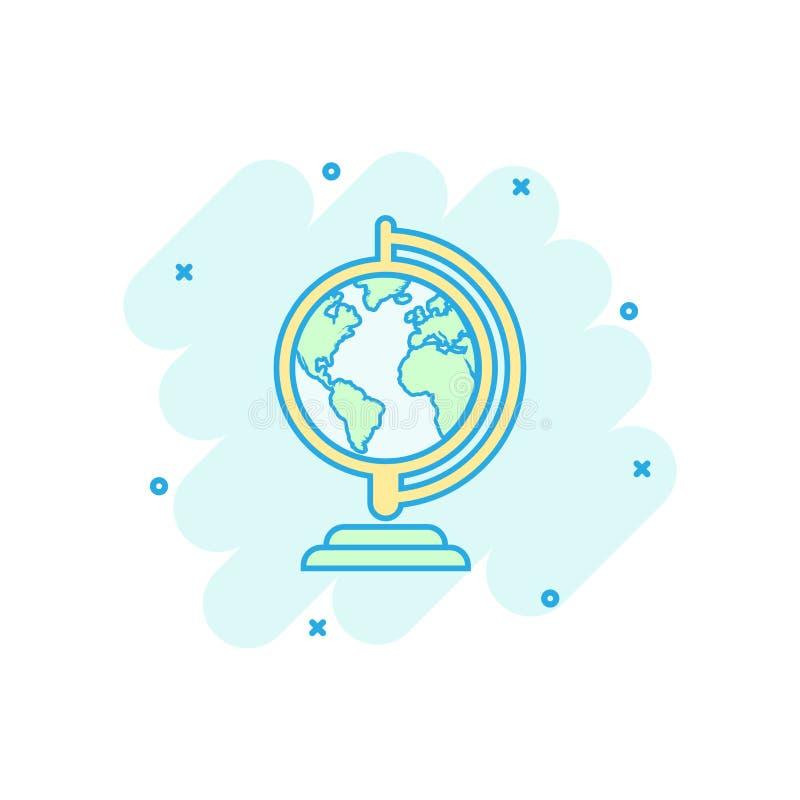 Vektorkarikaturkugel-Weltkarteikone in der komischen Art Runde Erde vektor abbildung