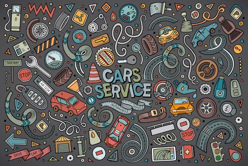 Vektorkarikatursatz Automobilgegenstände lizenzfreie abbildung