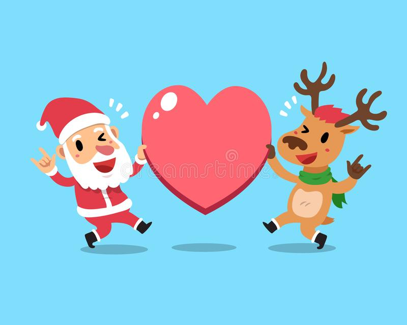 Vektorkarikaturweihnachten Weihnachtsmann und Ren mit großem Herzzeichen stock abbildung