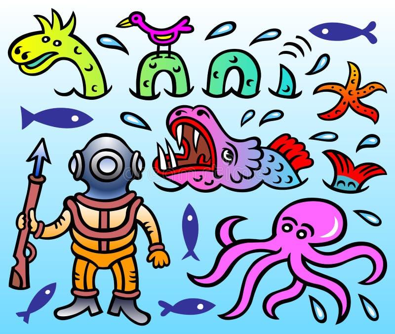 Vektorkarikatyr - fjord Ness Monster, sjöstjärna, havsmonster, dykare, bläckfisk och lite fågel royaltyfri illustrationer