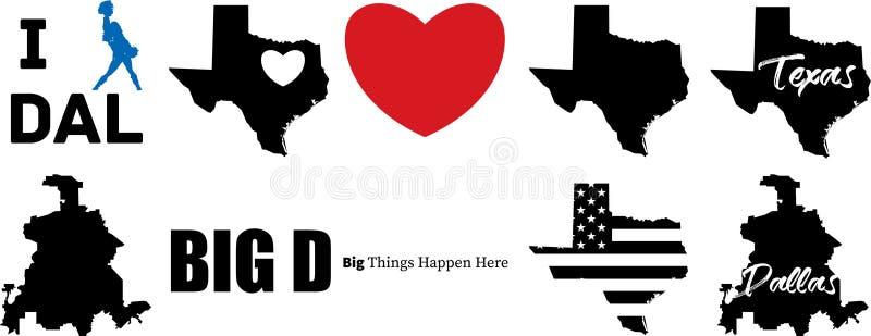 Vektorkarte Dallas Texas mit Texas-Karte lizenzfreie abbildung