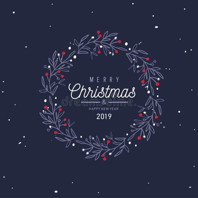 Vektorkarte der frohen Weihnachten und des neuen Jahres, Fahne, Hintergrund vektor abbildung