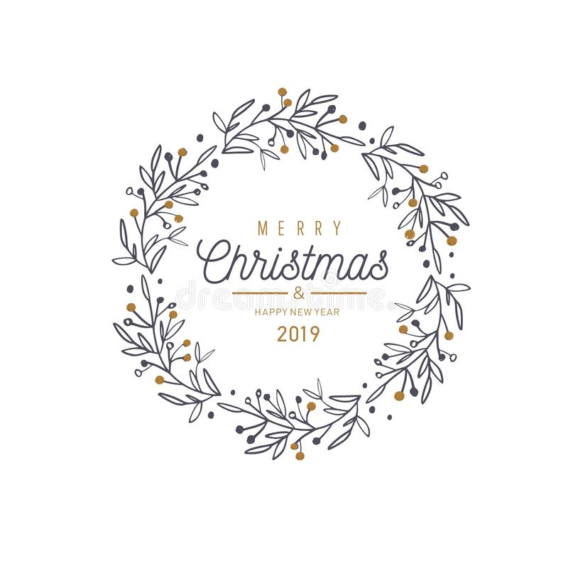 Vektorkarte der frohen Weihnachten und des neuen Jahres, Fahne, Hintergrund lizenzfreie abbildung