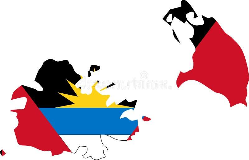 Vektorkarte des Antigua und Barbuda mit Flagge lokalisierter, weißer Hintergrund vektor abbildung