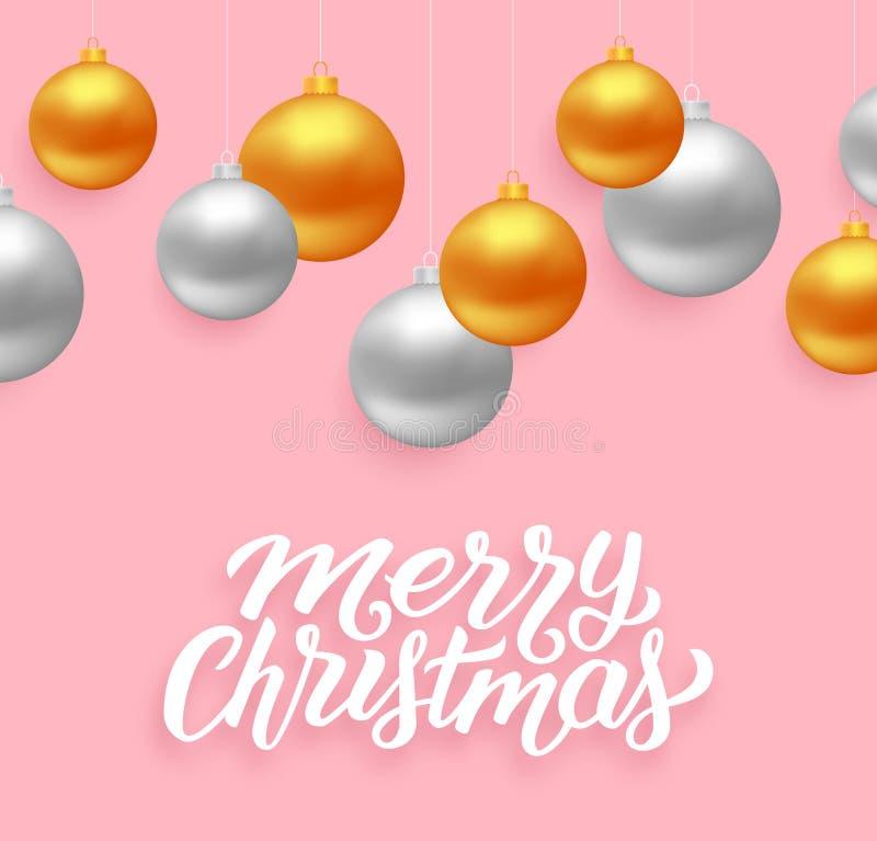 Vektorkarte des guten Rutsch ins Neue Jahr und der frohen Weihnachten lizenzfreie abbildung