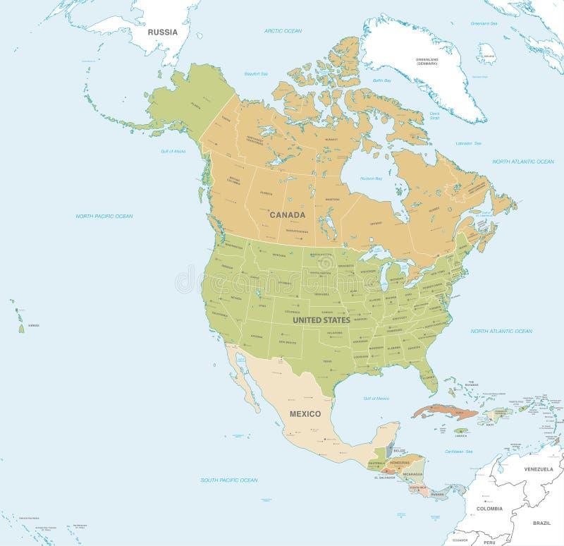 Vektorkarte des Nordens und des Mittelamerikas lizenzfreie abbildung