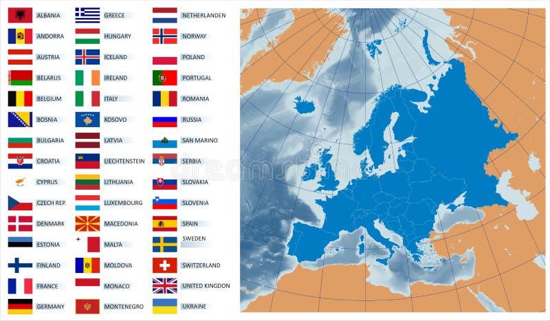 Vektorkarte Europa mit Markierungsfahnen vektor abbildung