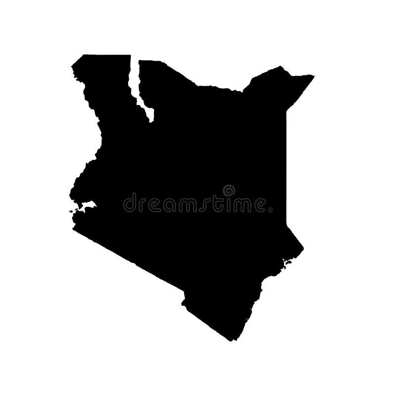 Vektorkarte Kenia Getrennte vektorabbildung Schwarzes auf wei?em Hintergrund vektor abbildung