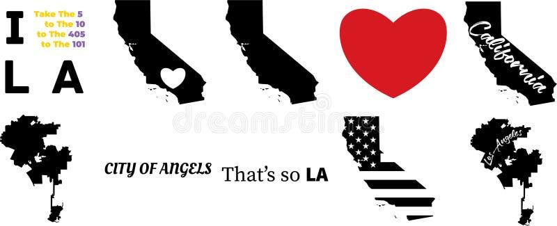 Vektorkarte Los Angeles Kalifornien lizenzfreie abbildung