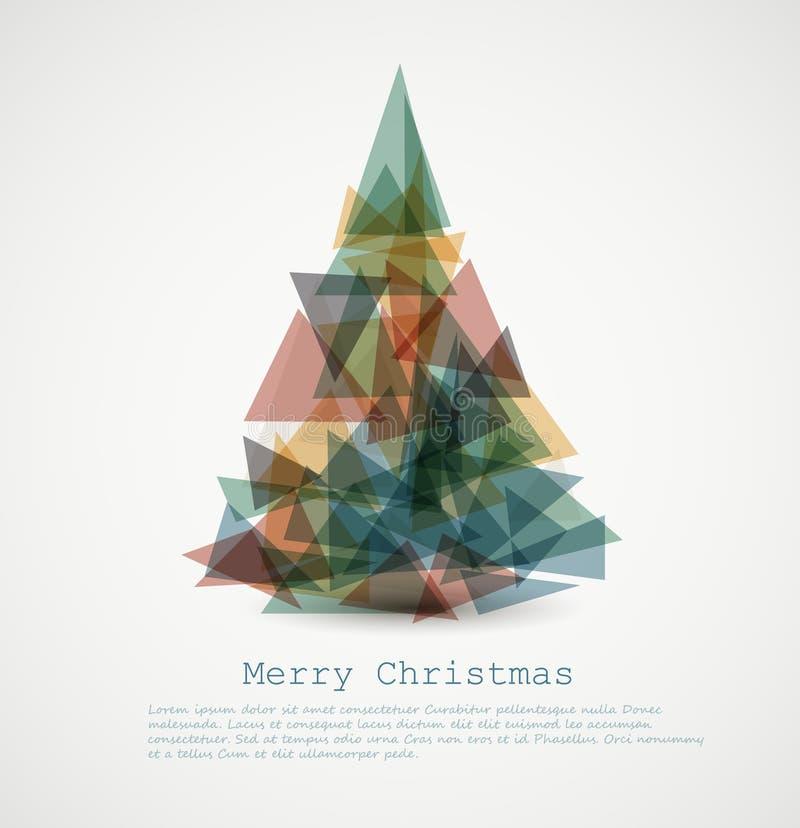 Vektorkarte mit abstraktem Retro- Weihnachtsbaum lizenzfreie abbildung