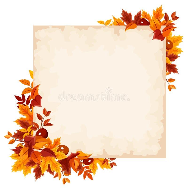 Vektorkarte mit buntem Herbstlaub vektor abbildung