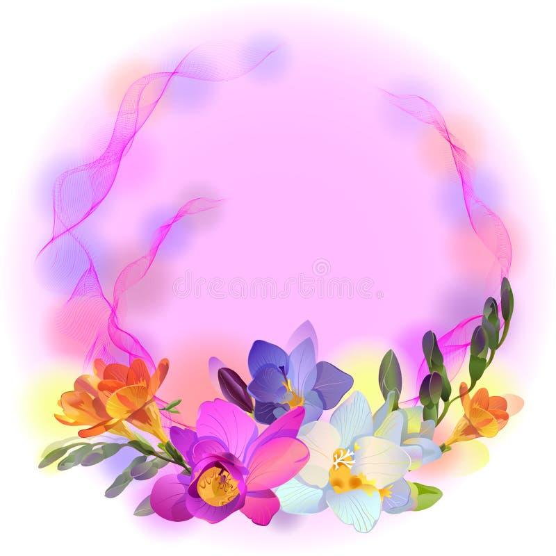Download Vektorkarte Mit Freesiablumen Vektor Abbildung - Illustration von inspiration, flieder: 27725805