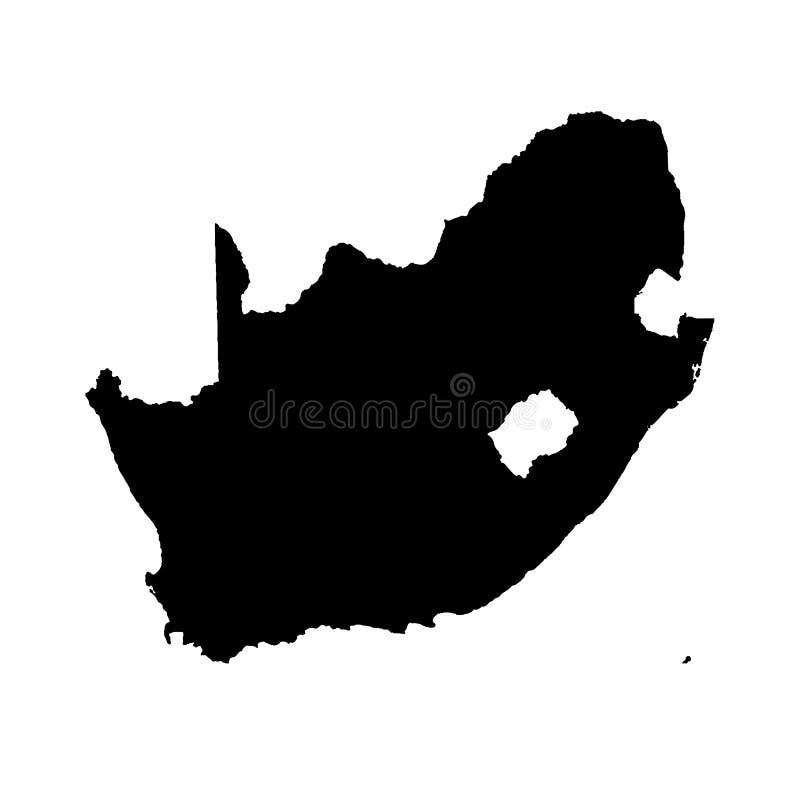 Vektorkarte Südafrika Getrennte vektorabbildung Schwarzes auf wei?em Hintergrund lizenzfreie abbildung