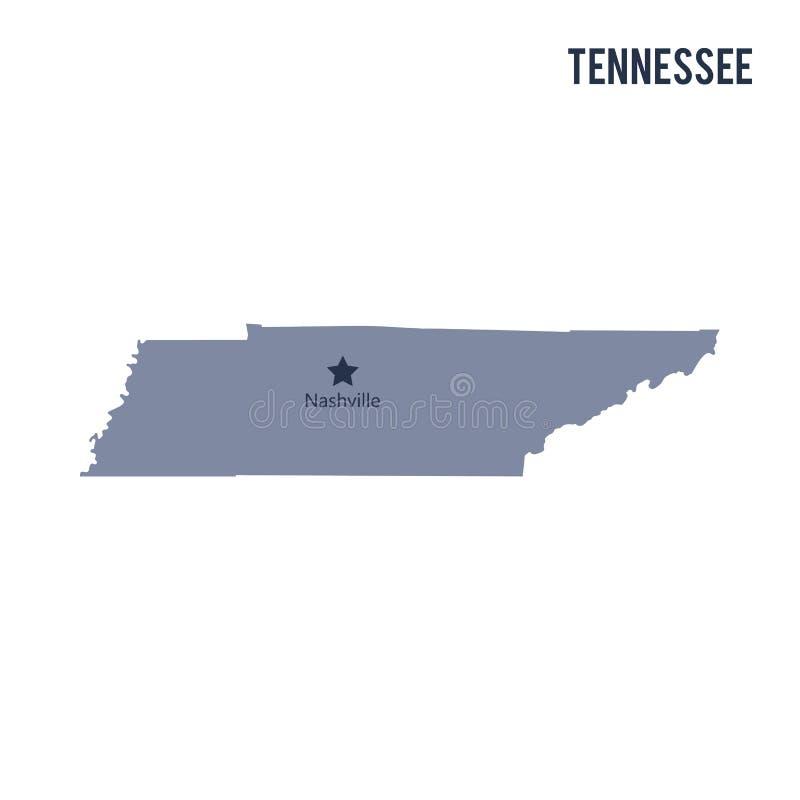 Vektorkarte Staat Tennessee lokalisiert auf weißem Hintergrund lizenzfreie abbildung