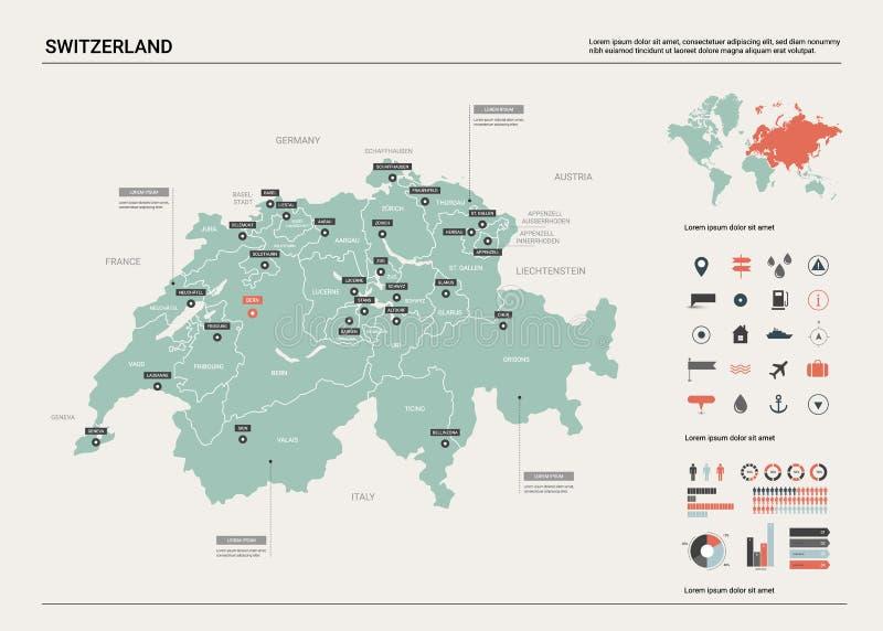 Vektorkarte von der Schweiz stock abbildung
