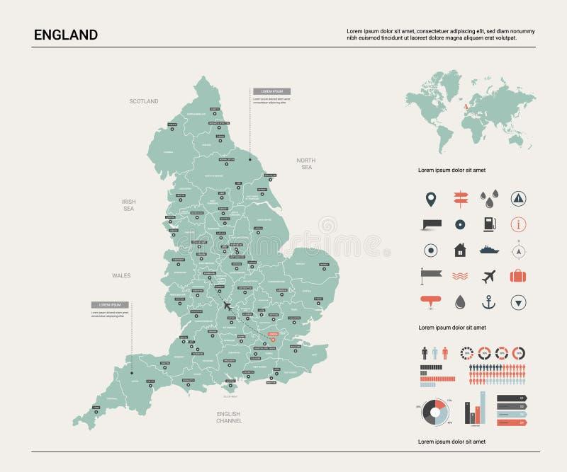 Vektorkarte von England Hohe ausf?hrliche Landkarte mit Abteilung, St?dten und Hauptstadt London Politische Karte, Weltkarte, inf vektor abbildung