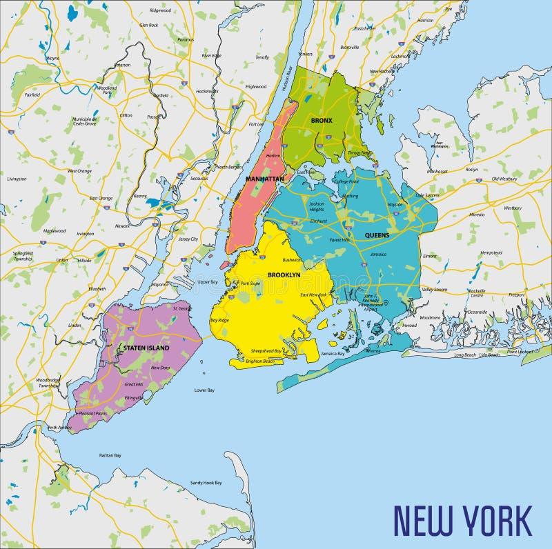 Vektorkarte von New York stock abbildung