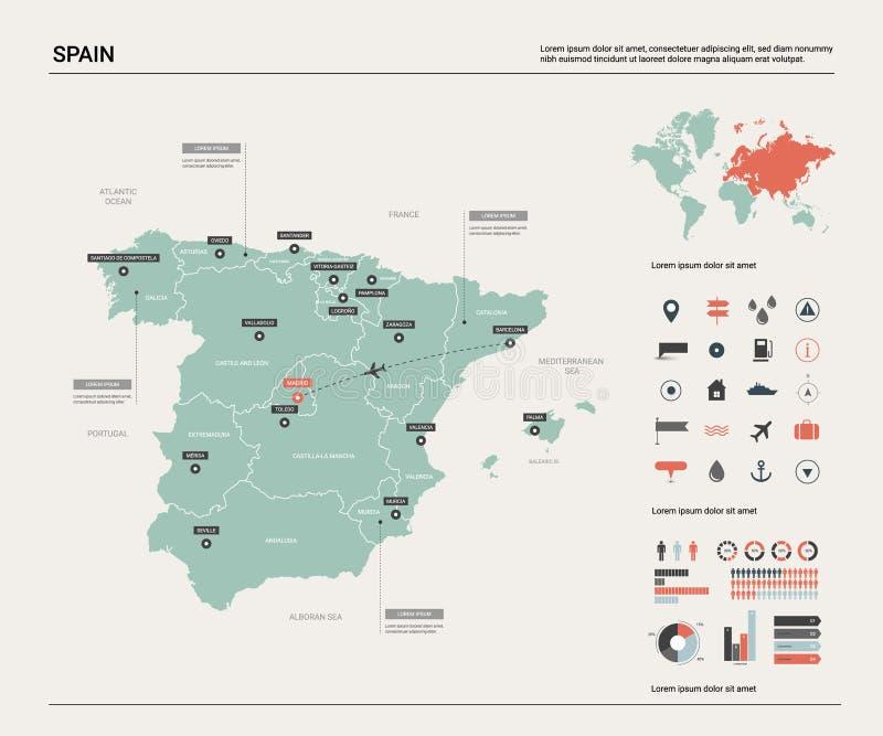 Vektorkarte von Spanien Hohe ausführliche Landkarte mit Abteilung, Städten und Hauptstadt Madrid Politische Karte, Weltkarte, inf vektor abbildung