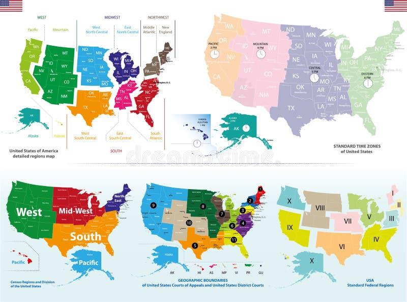 Vektorkarte von Vereinigten Staaten lizenzfreie abbildung