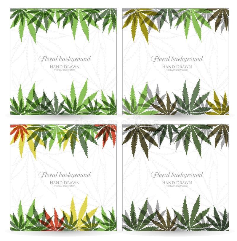 Vektorkarten- oder -einladungsentwurf mit Handgezogenem Marihuanablatt Hanfblattentwurf vektor abbildung