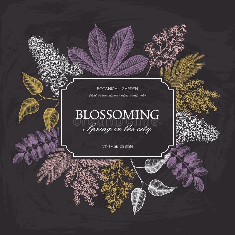 Vektorkartenentwurf mit Hand gezeichneten blühenden Bäumen Blumenhochzeitseinladungsschablone lizenzfreie abbildung