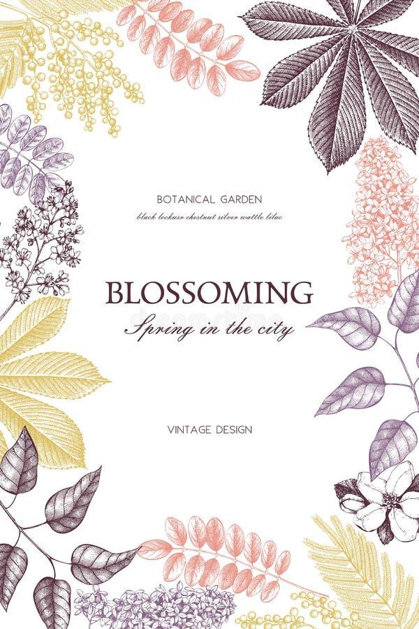 Vektorkartenentwurf mit Hand gezeichneten blühenden Bäumen Blumenhochzeitseinladungsschablone stock abbildung