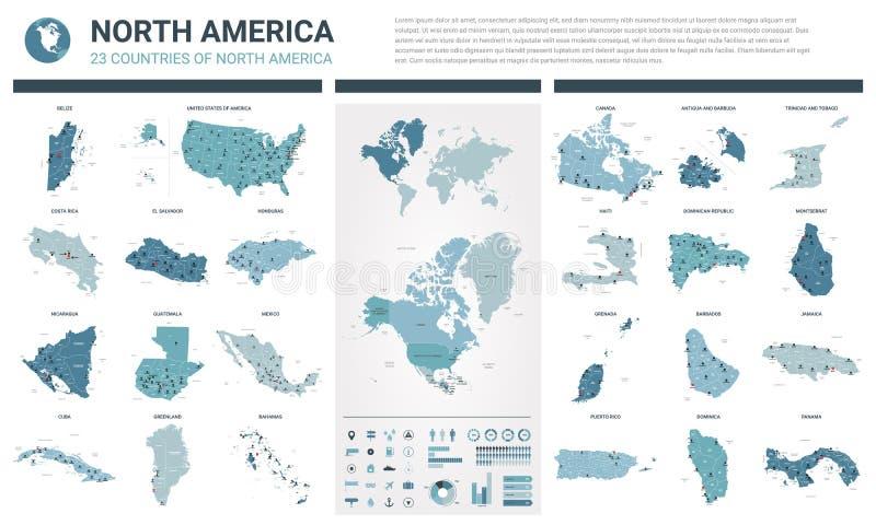 Vektorkartensatz Hoch f?hrte 23 Karten von nordamerikanischen L?ndern mit Verwaltungsabteilung und St?dten einzeln auf Politische vektor abbildung