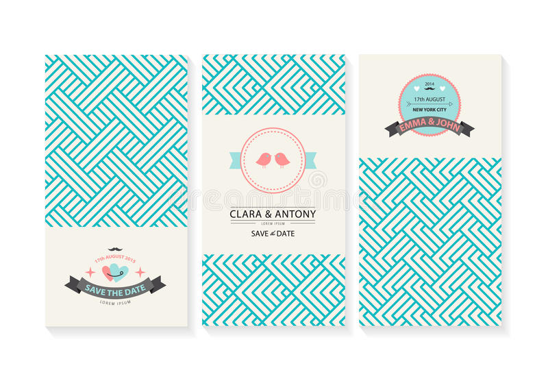 Vektorkartenstapel, Heiratseinladungen mit lizenzfreie abbildung