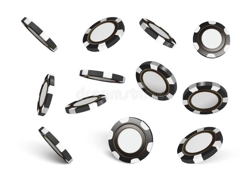 Vektorkasinochiper som isoleras på vit Modiga chiper 3D för kasino Online-kasinobaner Svart realistisk chip dobbleri royaltyfri illustrationer