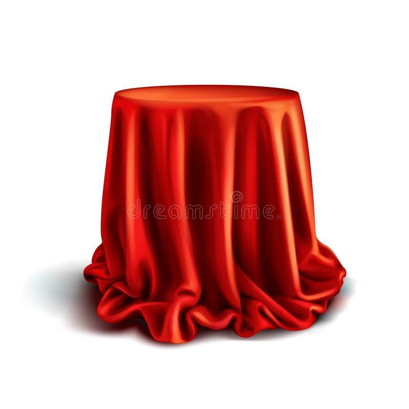 Vektorkasten bedeckt mit rotem silk Stoff lizenzfreie abbildung