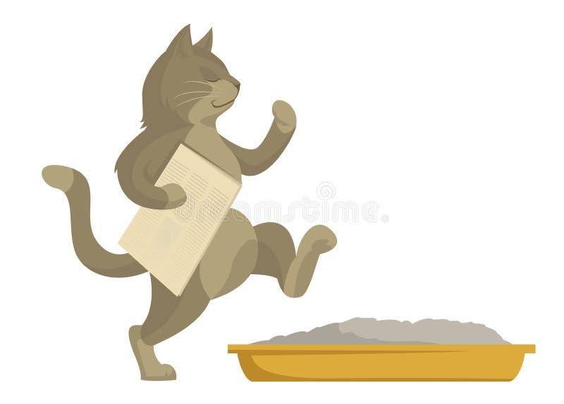 Katten går i toalett vektor illustrationer