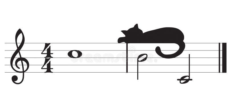 Vektorkatzen und -musik stock abbildung