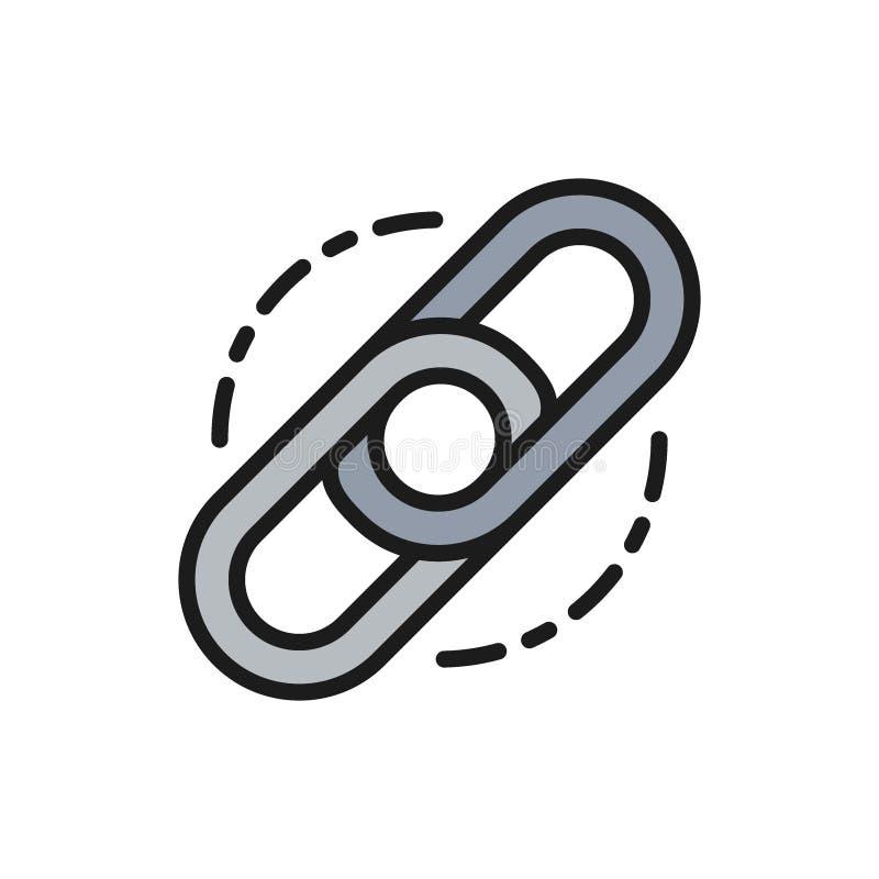 Vektorkedja, sammanlänkning, plan färglinje symbol för hyperlink royaltyfri illustrationer