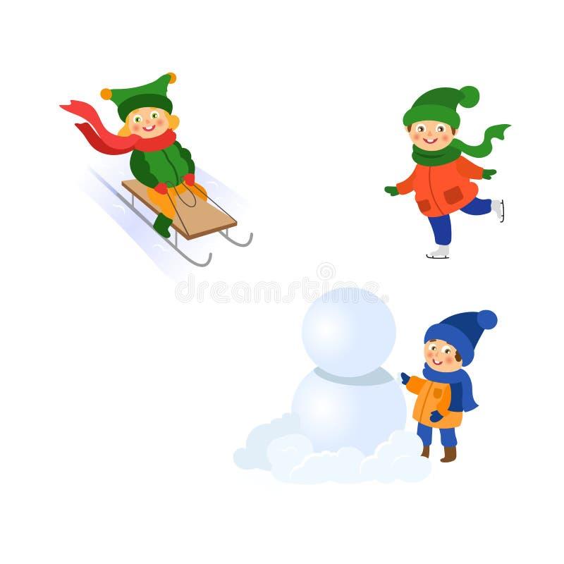 Vektorkinder, die Spaß draußen im Winter eingestellt haben vektor abbildung