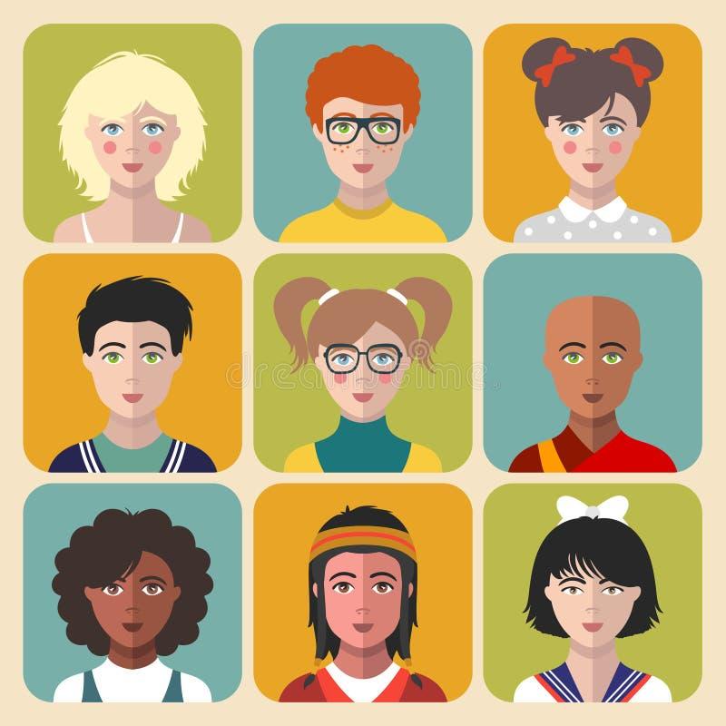 Vektorkinderavataras Satz der unterschiedlichen Nationalität scherzt Gesichter in der flachen Art Mädchen- und Jungenporträt-APP- vektor abbildung