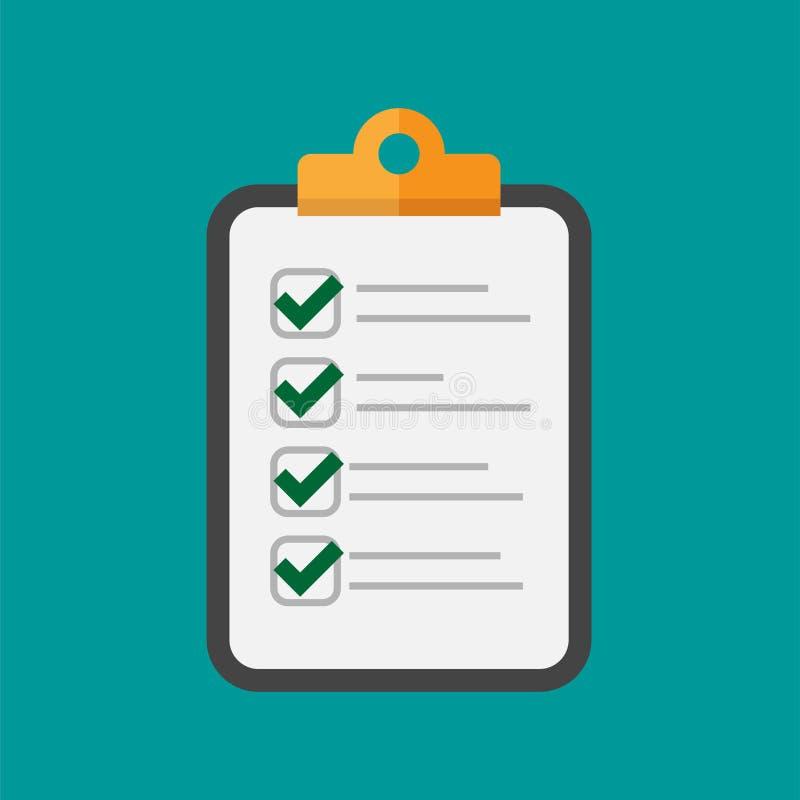 Vektorklemmbrett und -checkliste mit Prüfzeichen Geschäftstablette mit ausgefülltem Anmeldeformular lizenzfreie abbildung