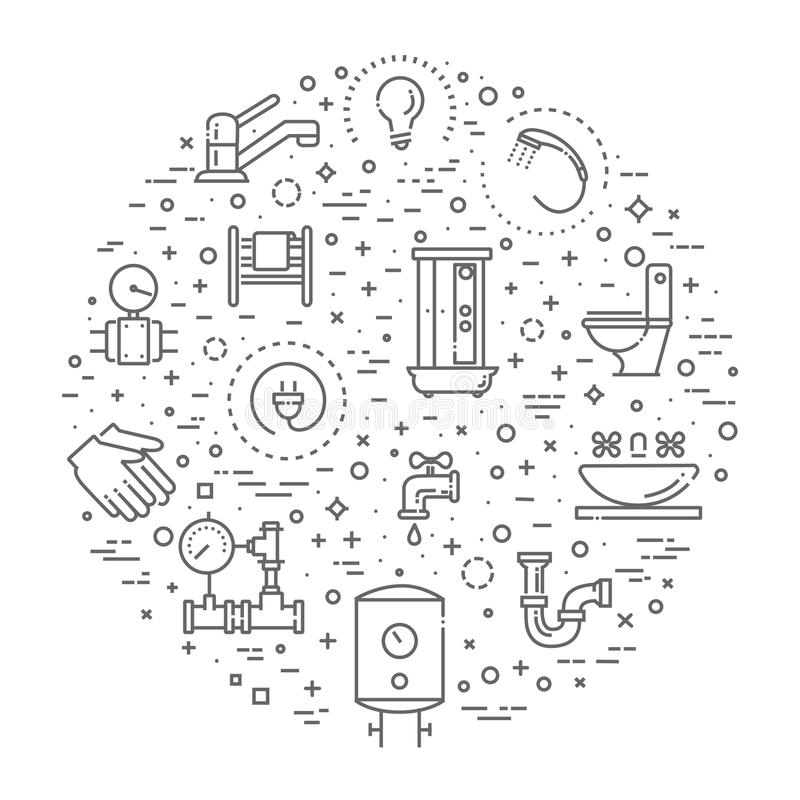 Vektorklempnerarbeit-Entwurfsikonen eingestellt lizenzfreie abbildung