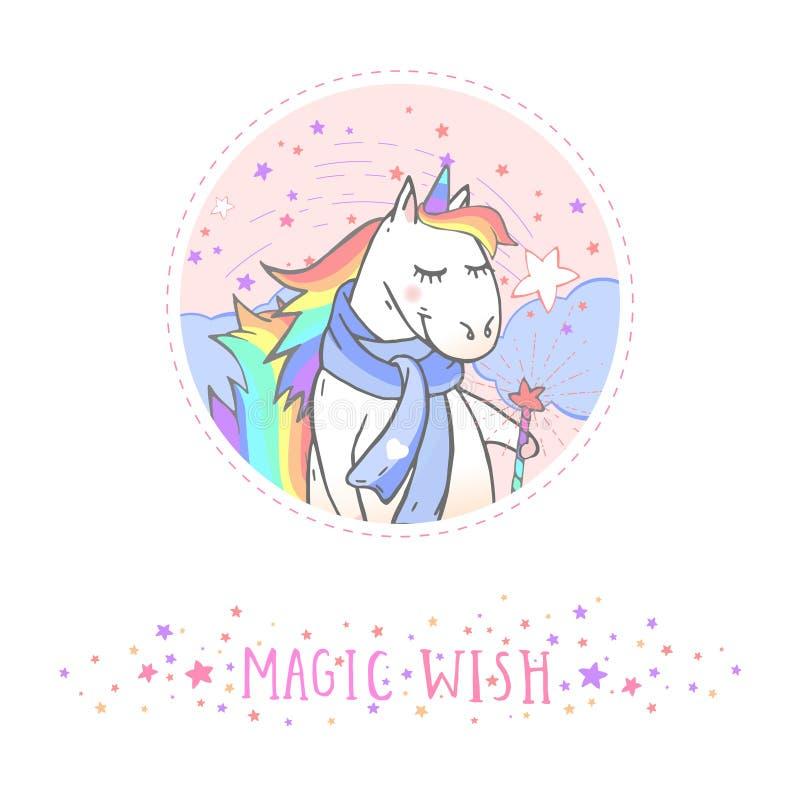 Vektorklistermärke eller symbol med den utdragna gulliga unicorninhalsduken för hand, trollspöet och text - MAGISK ÖNSKA på med b vektor illustrationer