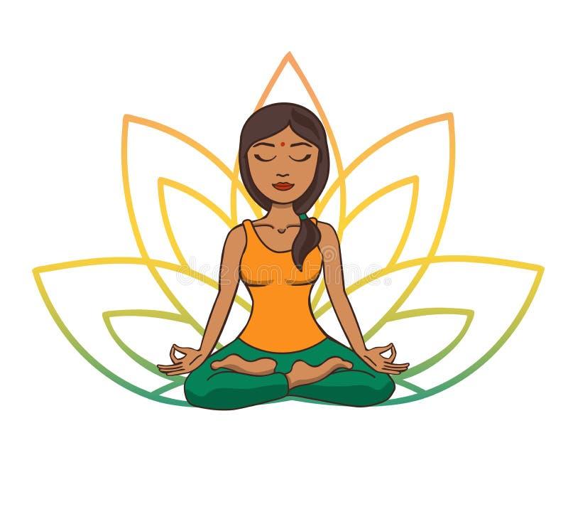 Vektorklotterillustrationen av den unga gulliga indiska flickan som mediterar i lotusblomma, poserar med blommakronblad bakom vektor illustrationer