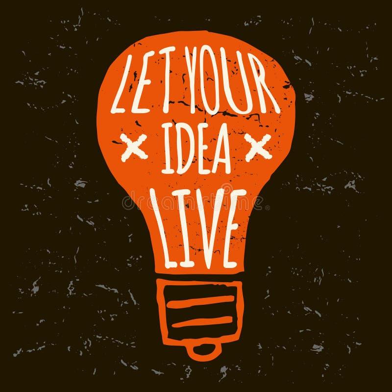 Vektorklotterlightbulb, begreppsmässig orange grunge vektor illustrationer