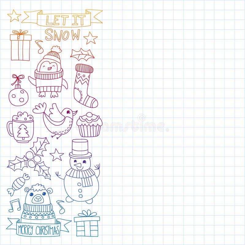 Vektorklottermodell med julsymboler vektor illustrationer