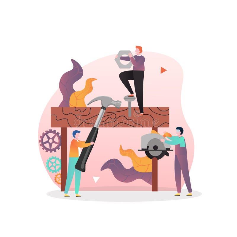 Vektorkonceptet Carpentry Services för webbanderoll, webbsida royaltyfri illustrationer